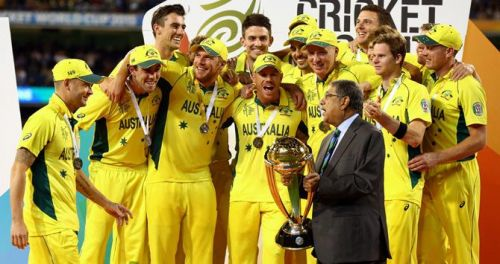 The Australian team being presented the ICC World Cup 2015