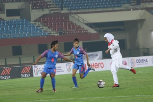 India's Sweety Devi and Ashalata Devi (left) in action against Iran during the Hero Gold Cup
