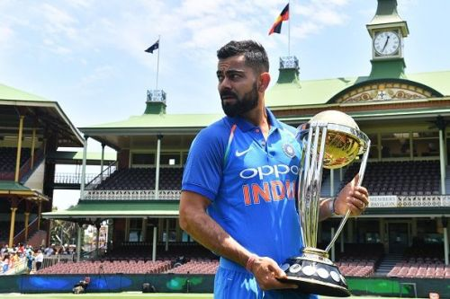 Virat Kohli with the ICC World Cup trophy