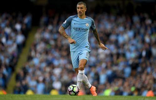 Kolarov playing for Manchester City.