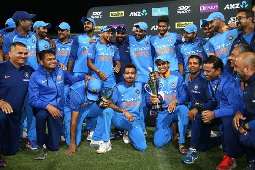 India celebrating their series win