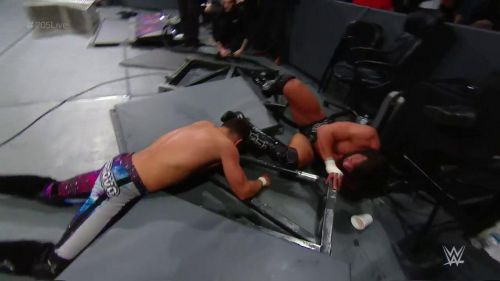 A street fight left the ringside barricade in pieces