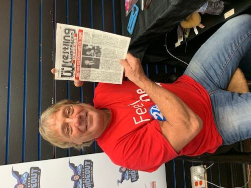 Marty Jannetty Holding Pro Wrestling Illustrated where Jack Tunney give WWF Title's back to The Hart Foundation