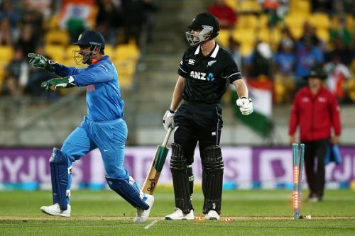 MS Dhoni during the 5th ODI