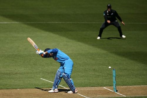 Dhoni was bowled by Boult, leaving India at 18 for 4