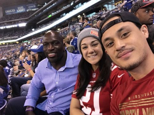 Bayley attended an Indianapolis Colts' game to cheer on the 49ers.