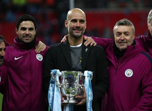 Pep Guardiola's City won the Carabao Cup, his first major trophy on English soil, at Wembley last year.