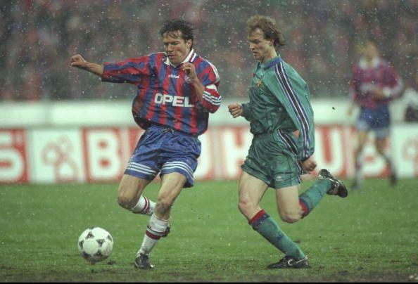 Lothar Matthaus of Bayern Munich and Jordi Cruyff of Barcelona