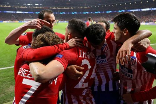 Atletico Madrid players celebrating their first goal