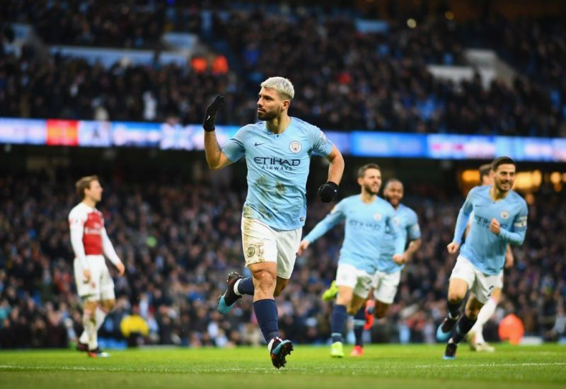 Aguero celebrates after completing his hat-trick against Arsenal