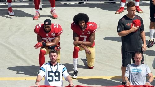 Eric Reid & Colin Kaepernick San Francisco 49ers kneel during the national anthem before their game against the Carolina Panthers 18092016