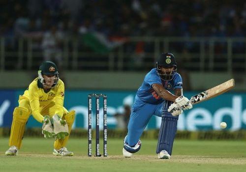 KL Rahul batting during India v Australia - T20I: Game 1