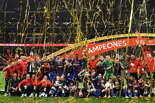 Barcelona celebrate their Copa Del Rey 2018 title. Who thought they could win this when the season started?