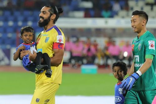 Sandesh Jhingan (left) of Kerala Blasters before the game against Bengaluru FC