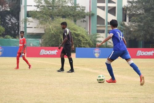 Action from the Boost-Chennaiyin FC Football Championship
