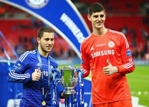 Eden Hazard and Thibaut Courtois during their spell at Chelsea.