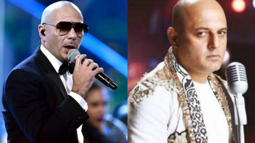 Pitbull (left) received a lot of criticism for not being able to make it to the ceremony at the last moment