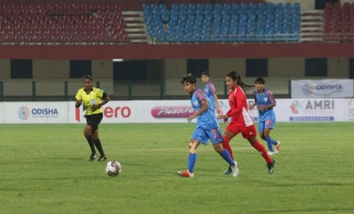 Ratanbala Devi of the Indian women's football team during the Hero Gold Cup