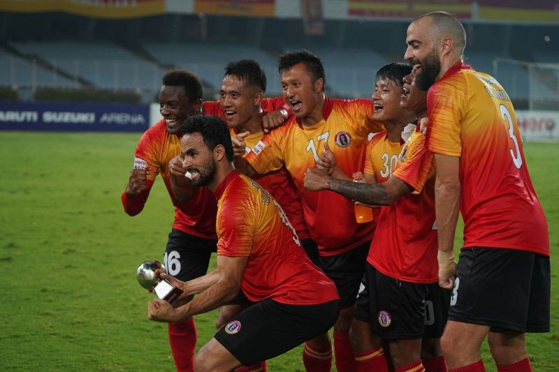 East Bengal players celebrating after the win