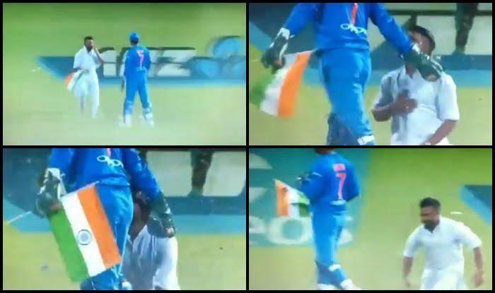 Dhoni Takes National Flag