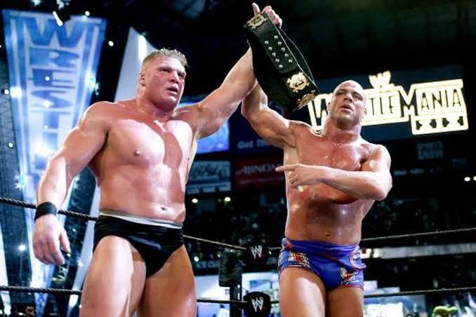 Lesnar and Angle after their WrestleMania match!