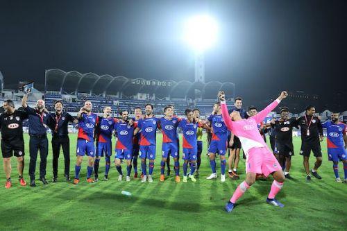 Bengaluru FC players celebrate after the win over FC Goa in the ISL