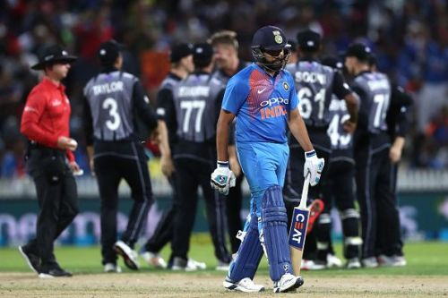 Rohit Sharma's dismissal tilteed the match in New Zealand's favour