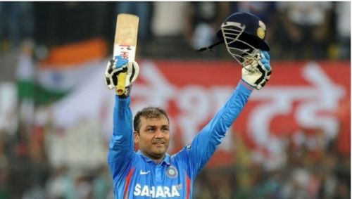 Sehwag scored a blistering 219 against the West Indies in 2011