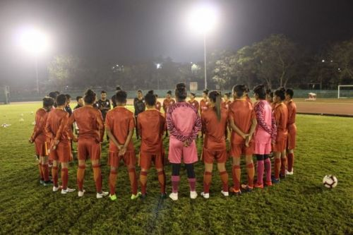 Players of the Indian Women's Football team during a training session