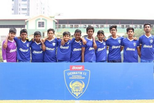 Boys from the Bhavan's Rajaji Vidyashram U-15 team after their Boost-Chennaiyin FC Football Championship match