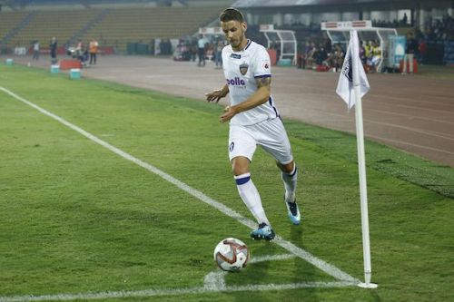 Andrea Orlandi in action for Chennaiyin FC against NorthEast United on January 26. This was his last game for the club