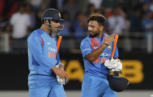 Auckland: India's MS Dhoni and Rishabh Pant celebrate after winning the second T20I match against New Zealand at Eden Park in Auckland, New Zealand on Feb 8, 2019. (Photo: Surjeet Yadav/IANS)