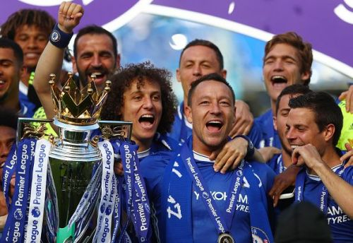 John Terry celebrates an EPL Title with Chelsea.