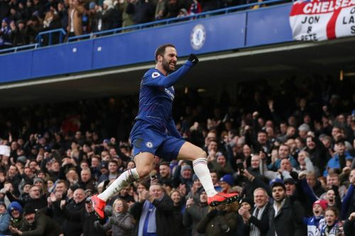 Higuain netted a double in Chelsea's 5-0 win over Huddersfield