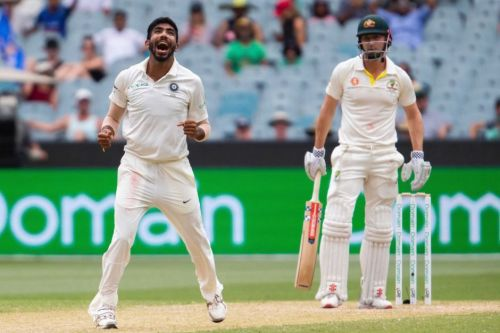 OUTFOXED: That eventful over at Melbourne culminated in a screamer of a slower ball to get rid of the older Marsh. Bumrah celebrates the wicket here.