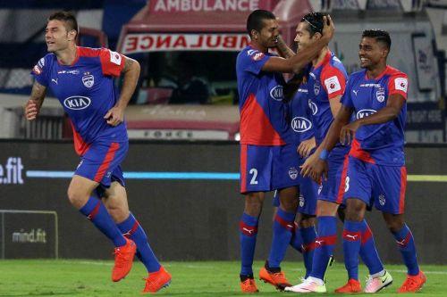 Bengaluru players celebrate a goal [Image: ISL]