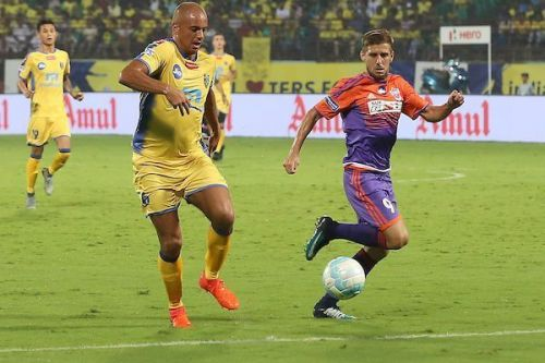 Wes Brown (left) made 15 appearances for Kerala Blasters
