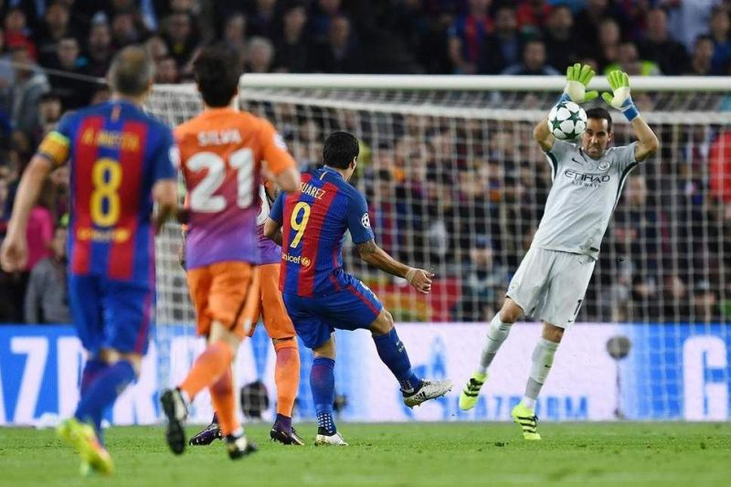 Claudio Bravo was sent off after he handled the ball outside the penalty area.