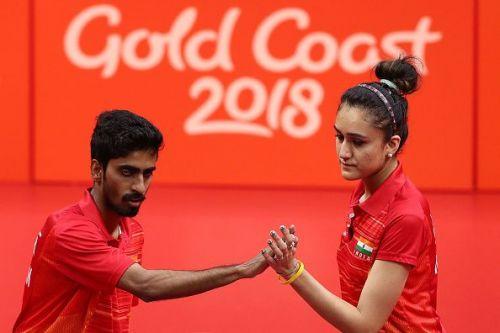 Sathiyan Gnanasekaran (left) and Manika Batra