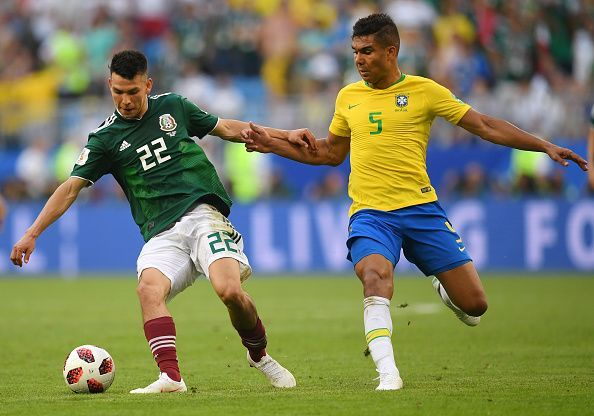 Lozano playing for Mexico in Round of 16 - 2018 FIFA World Cup Russia