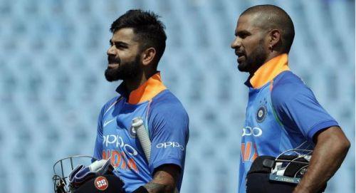 Skipper Virat Kohli and Shikar Dhawan heading back to the pavilion for the lunch break