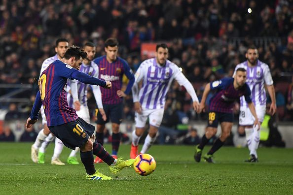 Lionel Messi scored one penalty and missed another in a 1-0 win over Valladolid. Not the best performance on the pitch by the footballing genius.