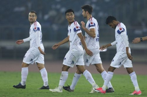 Delhi players celebrate after the winner [Image: ISL]