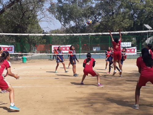 Volleyball Match Played during the annual Dr Bharat Ram Open Sports Fest 2019 at Lady Shri Ram College, New Delhi