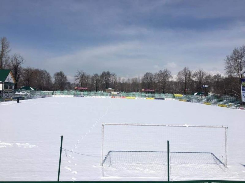 Snow covered TRC turf ground in Srinagar