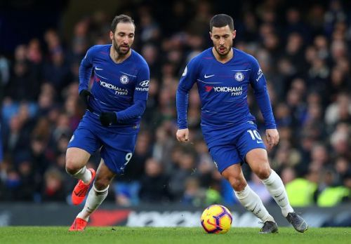 New attacking duo Eden Hazard and Gonzalo Higuain linking up well at Chelsea FC