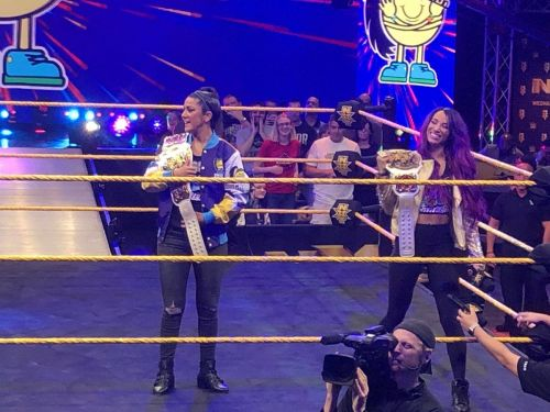 The newly crowned WWE Women's Tag Team Champions invaded the NXT Tapings! Credit: Jacob Cohen