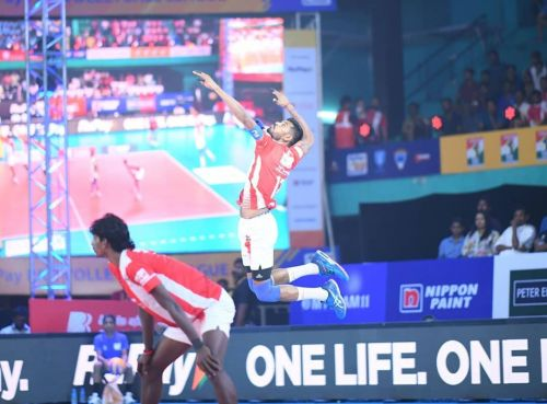 Jerome Vinith was the top scorer for the Calicut Heroes tonight