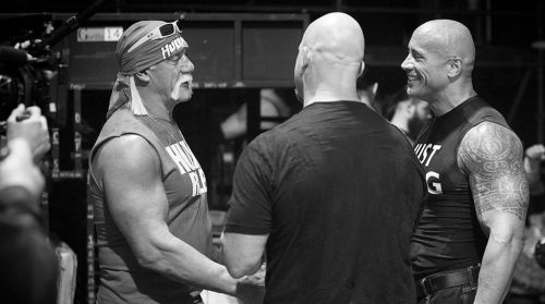Three of the greatest superstars, sharing a heartfelt moment backstage.