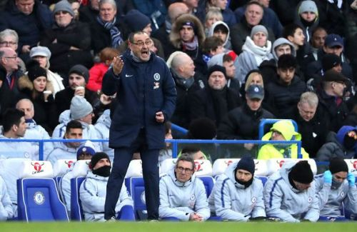 Maurizio Sarri looks on as Chelsea face Huddersfield.
